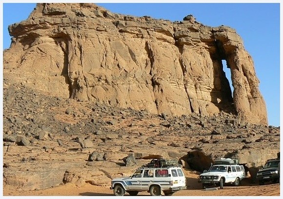 Stunning rock formations in the desert in southern Algeria